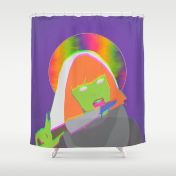 neon-queen-of-halloween-shower-curtains
